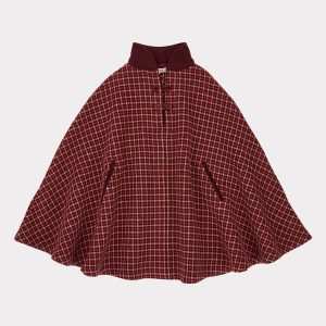 Caramel  - LAPWING CAPE RED/BERRY CHECK - Clothing