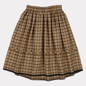 Caramel  - WAGTAIL SKIRT YELLOW CHECK - Clothing