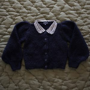 Bonjour Diary  - CARDIGAN WITH EMBROIDERED COLLAR BLUE - Clothing