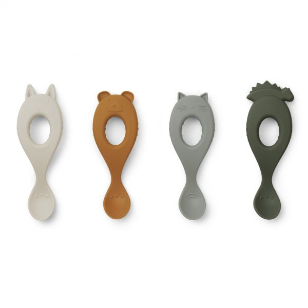 Liewood  - LIVA SILICONE SPOON 4-PACK HUNTER GREEN MIX - Homeware