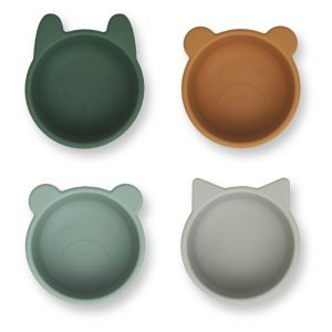 Liewood  - MALENE SILICONE BOWL - 4 PACK GREEN MULTI MIX - Homeware