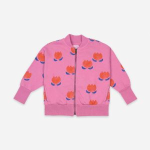 Bobo Choses  - CHOCOLATE FLOWER ALL OVER ZIPPED SWEATSHIRT - Clothing
