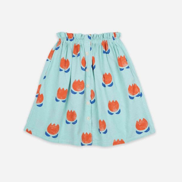 Bobo Choses  - CHOCOLATE FLOWERS ALL OVER BUTTONED MIDI SKIRT - Clothing