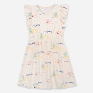 Bobo Choses  - PLAYGROUND ALL OVER TERRY FLEECE RUFFLE DRESS - Clothing