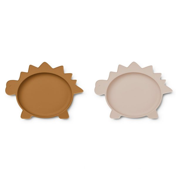 Liewood  - OLIVIA PLATE - 2 PACK DINO ROSE MUSTARD MIX - Homeware