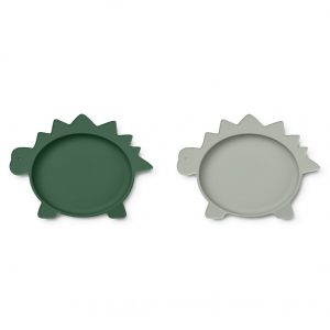 Liewood  - OLIVIA PLATE - 2 PACK DINO GARDEN GREEN DOVE BLUE MIX - Homeware