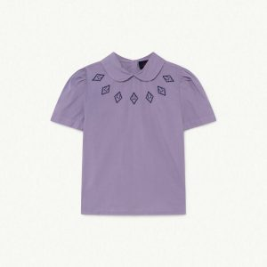 The Animals Observatory  - CANARY KIDS BLOUSE PURPLE LOGOS - Clothing