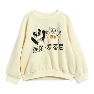 Mini Rodini  - CAT AND PANDA SWEATSHIRT OFFWHITE - Clothing