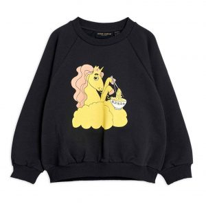 Mini Rodini  - UNICORN NOODLES SWEATSHIRT BLACK - Clothing