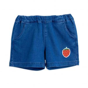 Mini Rodini  - STRAWBERRY DENIM SHORTS BLUE - Clothing