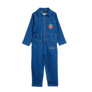 Mini Rodini  - STRAWBERRY DENIM JUMPSUIT BLUE - Clothing