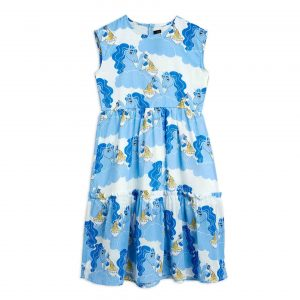 Mini Rodini  - UNICORN NOODLES WOVEN LONG DRESS BLUE - Clothing