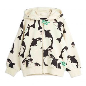 Mini Rodini  - ORCA ZIP HOODIE OFFWHITE - Clothing