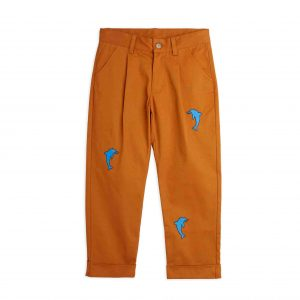 Mini Rodini  - DOLPHIN EMBROIDERED CHINOS BROWN - Clothing
