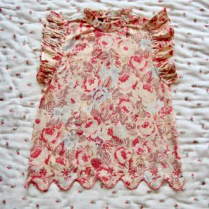 Bonjour Diary  - TOP WITH FLOUNCE & SCALLOP EMBROIDERY  BIG FLOWER PRINT - Clothing