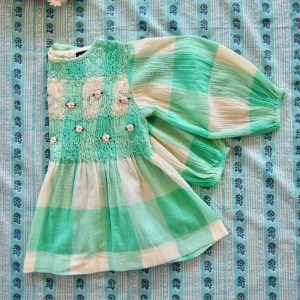 Bonjour Diary  - HANDSMOCK BLOUSE VICHY MINT CHECK - Clothing