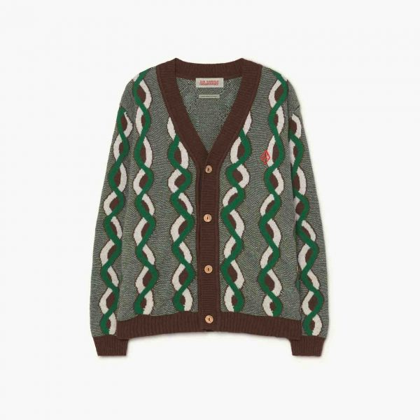 The Animals Observatory  - BRAIDS RACOON KIDS CARDIGAN BROWN LOGO - Clothing