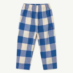 The Animals Observatory  - ELEPHANT KIDS TROUSERS BLUE VICHY LOGO - Clothing