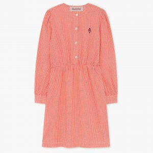 The Animals Observatory  - WEASEL KIDS DRESS RED VICHY LOGO - Clothing