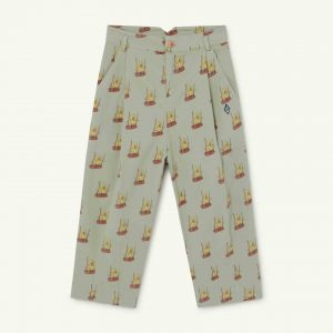The Animals Observatory  - EMU KIDS TROUSERS SOFT GREEN BIRDS - Clothing