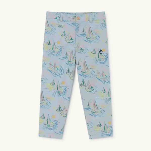 The Animals Observatory  - CAMEL KIDS TROUSERS SOFT BLUE BOATS - Clothing