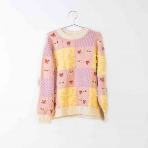 Fish & Kids  - ADULT PINK/YELLOW PATCHWORK SWEATER - Clothing
